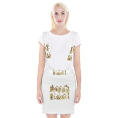 Happy Diwali Gold Golden Stars Star Festival Of Lights Deepavali Typography Braces Suspender Skirt