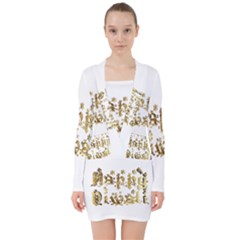 Happy Diwali Gold Golden Stars Star Festival Of Lights Deepavali Typography V Neck Bodycon Long Sleeve Dress