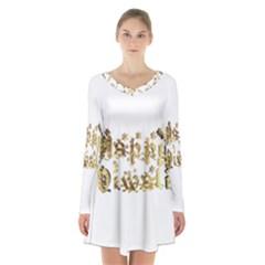 Happy Diwali Gold Golden Stars Star Festival Of Lights Deepavali Typography Long Sleeve Velvet V Neck Dress
