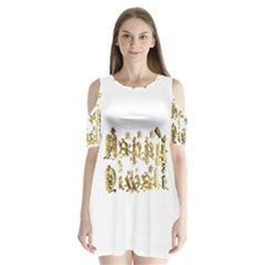 Happy Diwali Gold Golden Stars Star Festival Of Lights Deepavali Typography Shoulder Cutout Velvet One Piece