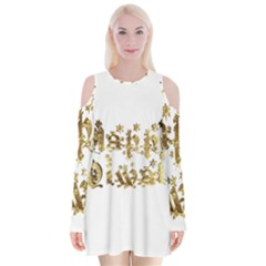 Happy Diwali Gold Golden Stars Star Festival Of Lights Deepavali Typography Velvet Long Sleeve Shoulder Cutout Dress