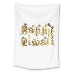 Happy Diwali Gold Golden Stars Star Festival Of Lights Deepavali Typography Large Tapestry