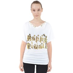 Happy Diwali Gold Golden Stars Star Festival Of Lights Deepavali Typography V Neck Dolman Drape Top