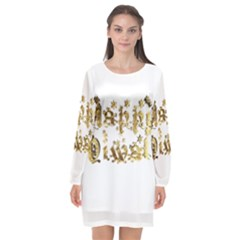 Happy Diwali Gold Golden Stars Star Festival Of Lights Deepavali Typography Long Sleeve Chiffon Shift Dress