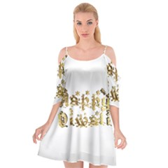 Happy Diwali Gold Golden Stars Star Festival Of Lights Deepavali Typography Cutout Spaghetti Strap Chiffon Dress