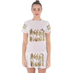 Happy Diwali Gold Golden Stars Star Festival Of Lights Deepavali Typography Drop Hem Mini Chiffon Dress