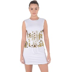 Happy Diwali Gold Golden Stars Star Festival Of Lights Deepavali Typography Lace Up Front Bodycon Dress