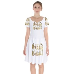 Happy Diwali Gold Golden Stars Star Festival Of Lights Deepavali Typography Short Sleeve Bardot Dress