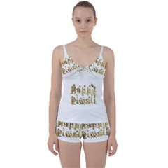 Happy Diwali Gold Golden Stars Star Festival Of Lights Deepavali Typography Tie Front Two Piece Tankini
