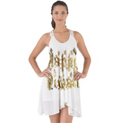 Happy Diwali Gold Golden Stars Star Festival Of Lights Deepavali Typography Show Some Back Chiffon Dress