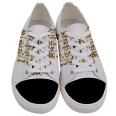 Happy Diwali Gold Golden Stars Star Festival Of Lights Deepavali Typography Women s Low Top Canvas Sneakers