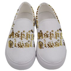 Happy Diwali Gold Golden Stars Star Festival Of Lights Deepavali Typography Men s Canvas Slip Ons