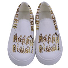 Happy Diwali Gold Golden Stars Star Festival Of Lights Deepavali Typography Kids  Canvas Slip Ons