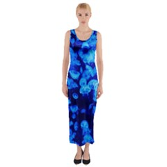 Blue Jellyfish Fitted Maxi Dress