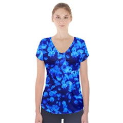 Blue Jellyfish Short Sleeve Front Detail Top