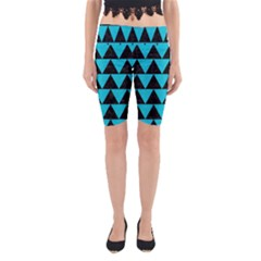 Triangle2 Black Marble & Turquoise Colored Pencil Yoga Cropped Leggings