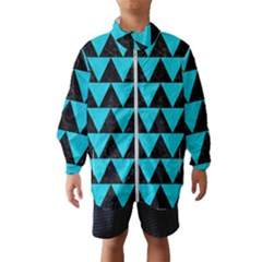 Triangle2 Black Marble & Turquoise Colored Pencil Wind Breaker (kids)