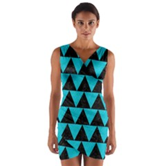 Triangle2 Black Marble & Turquoise Colored Pencil Wrap Front Bodycon Dress