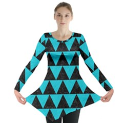 Triangle2 Black Marble & Turquoise Colored Pencil Long Sleeve Tunic