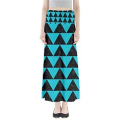 Triangle2 Black Marble & Turquoise Colored Pencil Full Length Maxi Skirt