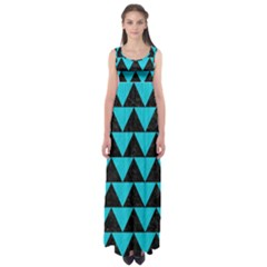 Triangle2 Black Marble & Turquoise Colored Pencil Empire Waist Maxi Dress