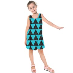 Triangle2 Black Marble & Turquoise Colored Pencil Kids  Sleeveless Dress