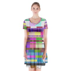 Error Short Sleeve V Neck Flare Dress