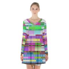 Error Long Sleeve Velvet V Neck Dress