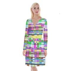 Error Long Sleeve Velvet Front Wrap Dress