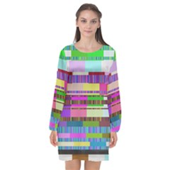Error Long Sleeve Chiffon Shift Dress