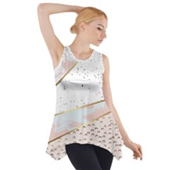 Collage,white Marble,gold,silver,black,white,hand Drawn, Modern,trendy,contemporary,pattern Side Drop Tank Tunic