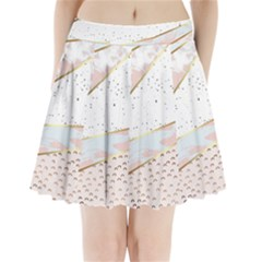 Collage,white Marble,gold,silver,black,white,hand Drawn, Modern,trendy,contemporary,pattern Pleated Mini Skirt