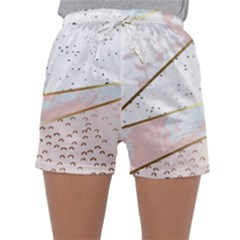 Collage,white Marble,gold,silver,black,white,hand Drawn, Modern,trendy,contemporary,pattern Sleepwear Shorts