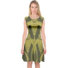 Art Nouveau Green Capsleeve Midi Dress
