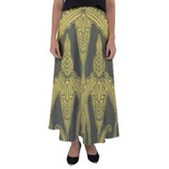 Art Nouveau Green Flared Maxi Skirt