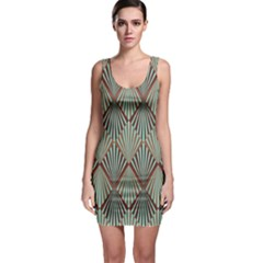 Art Deco Teal Brown Bodycon Dress