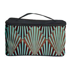 Art Deco Teal Brown Cosmetic Storage Case