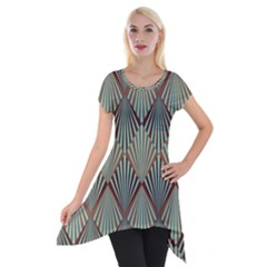 Art Deco Teal Brown Short Sleeve Side Drop Tunic