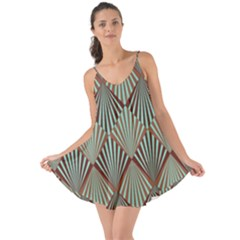 Art Deco Teal Brown Love The Sun Cover Up