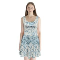 Blue Vintage Floral  Split Back Mini Dress