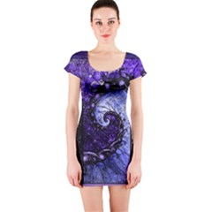 Beautiful Violet Spiral For Nocturne Of Scorpio Short Sleeve Bodycon Dress