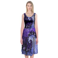 Beautiful Violet Spiral For Nocturne Of Scorpio Midi Sleeveless Dress