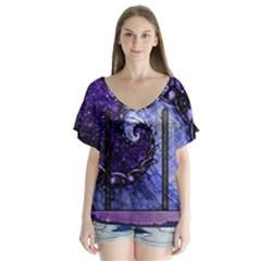 Beautiful Violet Spiral For Nocturne Of Scorpio V Neck Flutter Sleeve Top