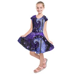 Beautiful Violet Spiral For Nocturne Of Scorpio Kids  Short Sleeve Dress