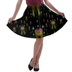 Queen In The Darkest Of Nights A Line Skater Skirt