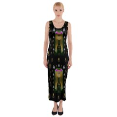Queen In The Darkest Of Nights Fitted Maxi Dress