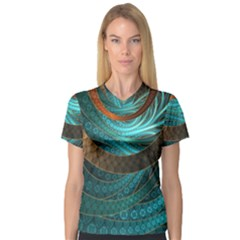 Beautiful Leather & Blue Turquoise Fractal Jewelry V Neck Sport Mesh Tee