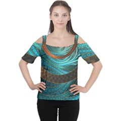 Beautiful Leather & Blue Turquoise Fractal Jewelry Cutout Shoulder Tee