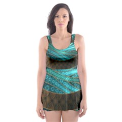 Beautiful Leather & Blue Turquoise Fractal Jewelry Skater Dress Swimsuit