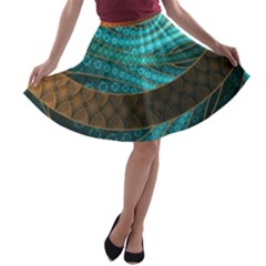 Beautiful Leather & Blue Turquoise Fractal Jewelry A Line Skater Skirt